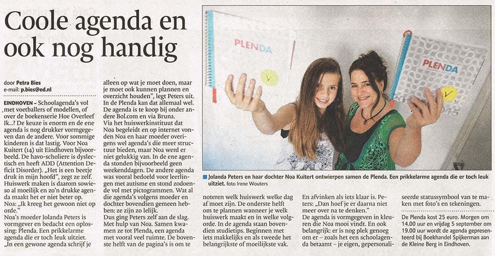 Plenda in Eindhovens Dagblad