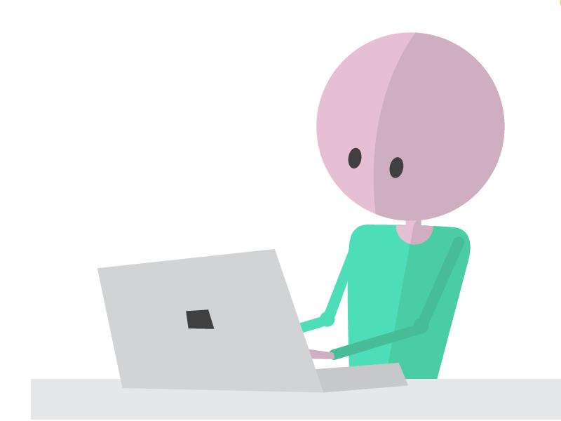 Bo achter de laptop
